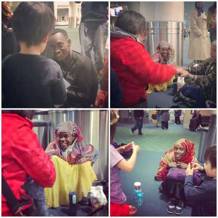 Four photos of us and the refugees hangint out at the airport playing hand games and singing while waiting for their case managers.