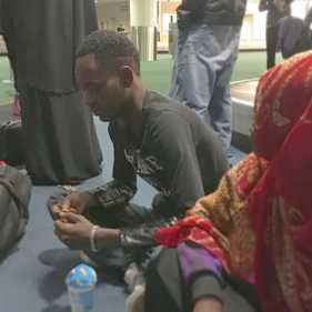 Photo of Somali refugee after arriving at Portland airport.