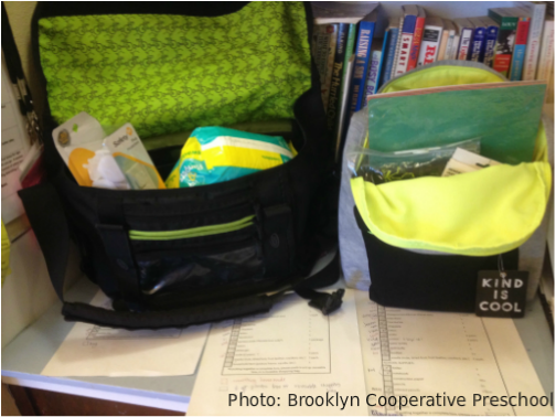 Photograph of two in-progress packages from Brooklyn Cooperative Preschool's Build-a-Box drive for Butterfly Boxes.